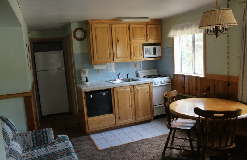 Cabin kitchen at Workshire Lodge.