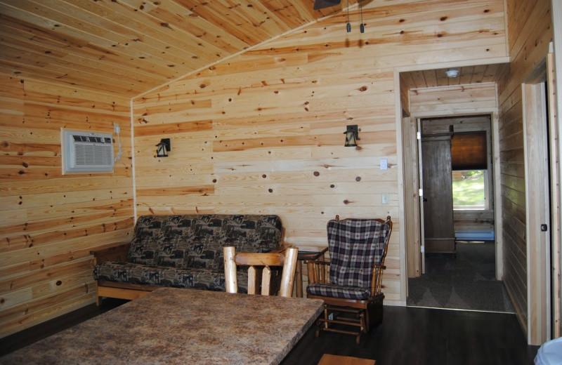 Cabin interior at Sandy Pines Resort.