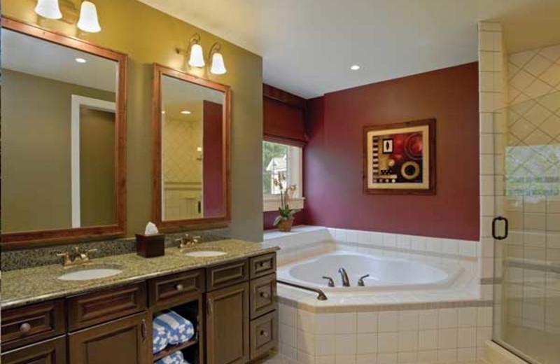 Rental bathroom at Wyndham Vacation Resorts Shawnee Village.