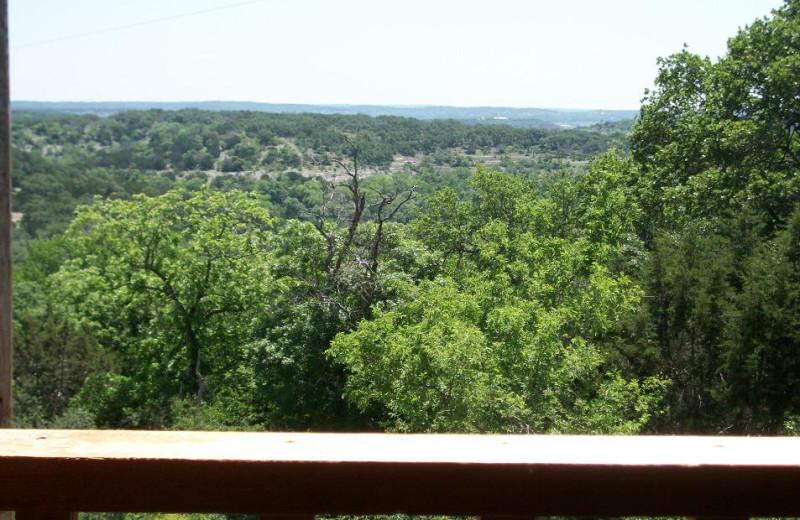 Cabin balcony view at Walnut Canyon Cabins.