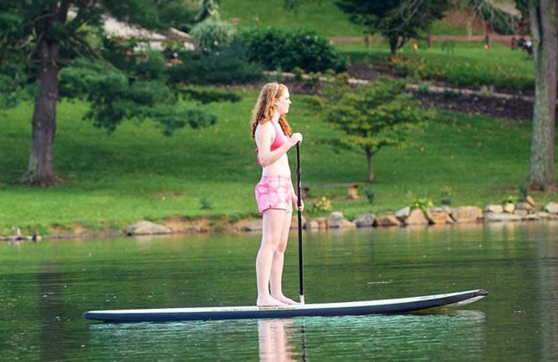 Paddle boarding at  Lake Junaluska Conference & Retreat Center.