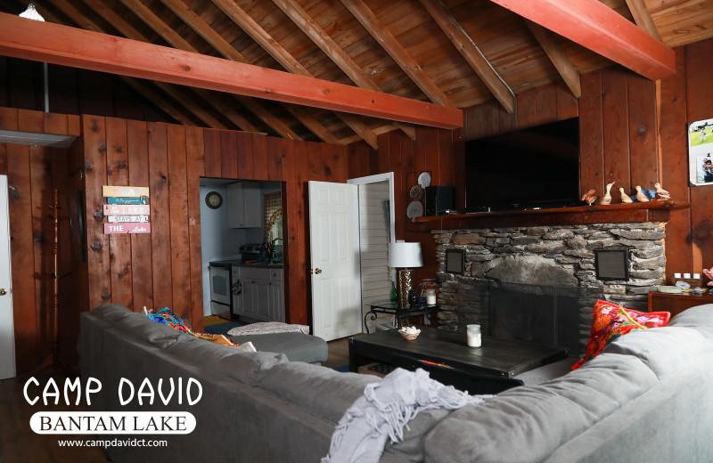 Cottage living room at Camp David Bantam Lake.