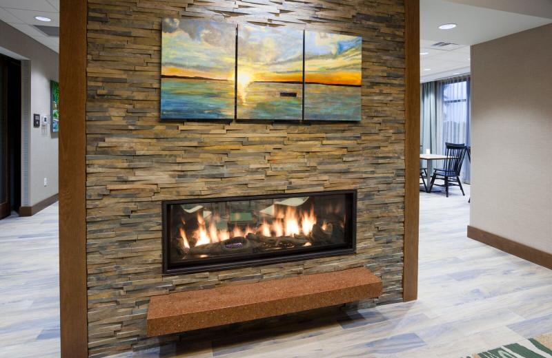 Fireplace at Spicer Green Lake Resort.