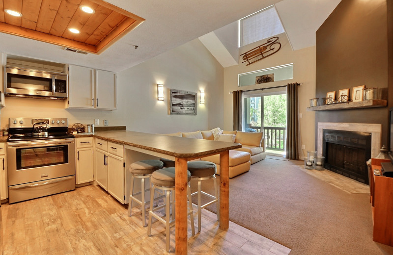 Rental kitchen and living room at  Padzu Vacation Homes - Park City