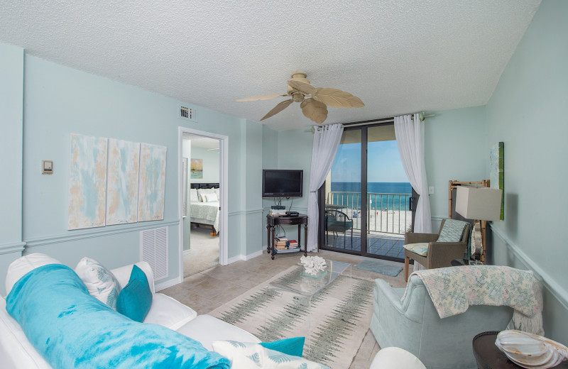Rental living room at Coastal Properties.