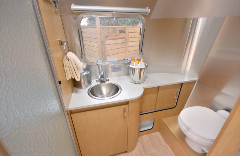 Guest bathroom at Airstreams at Haystack Village.