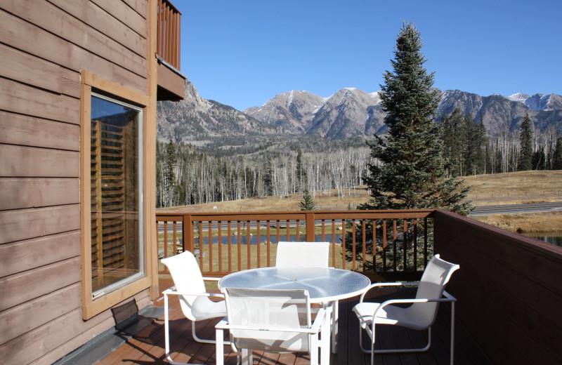 Guest balcony at Cascade Village Condominiums.