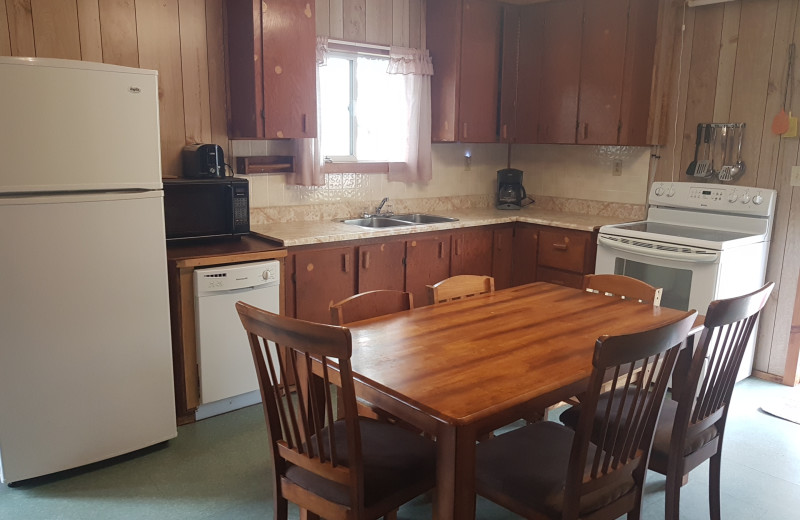 Cabin kitchen at Elk Lake Wilderness Resort.