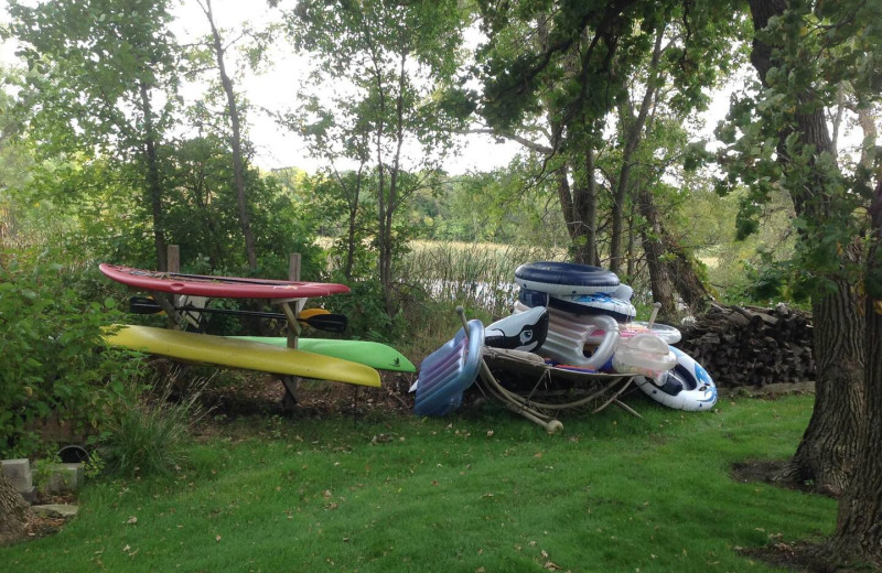 Water toys at Lakes Area Rentals.