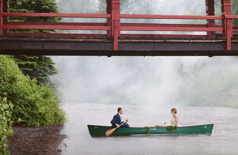 Wedding couple at Lutsen Resort on Lake Superior.