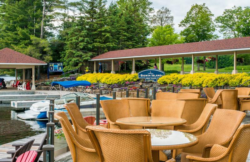 Patio at Port Cunnington Lodge & Resort.