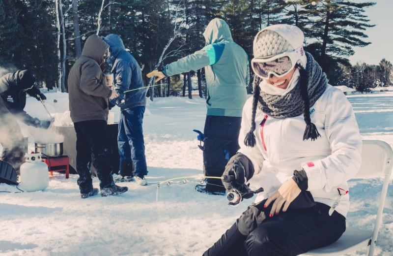 Ice fishing at Sherwood Inn.
