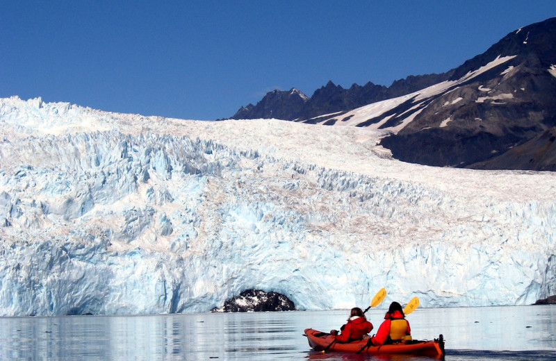 Canoe to glacier at Kenai Fjords Glacier Lodge.