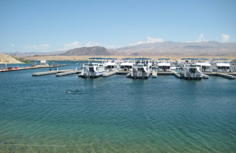 View of houseboats on lake at Cottonwood Cove Resort.