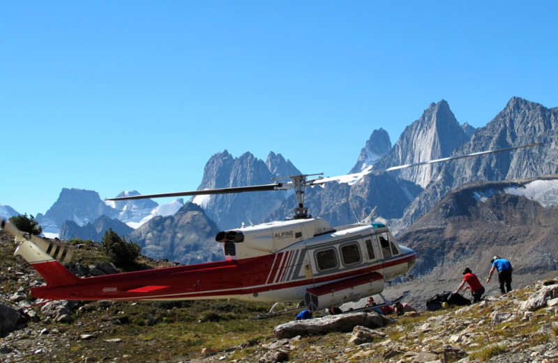 Helicopter ride at Bugaboos Lodge.
