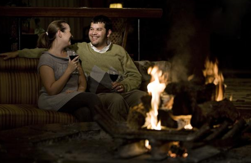 Romantic fire at The Lodge of Four Seasons.