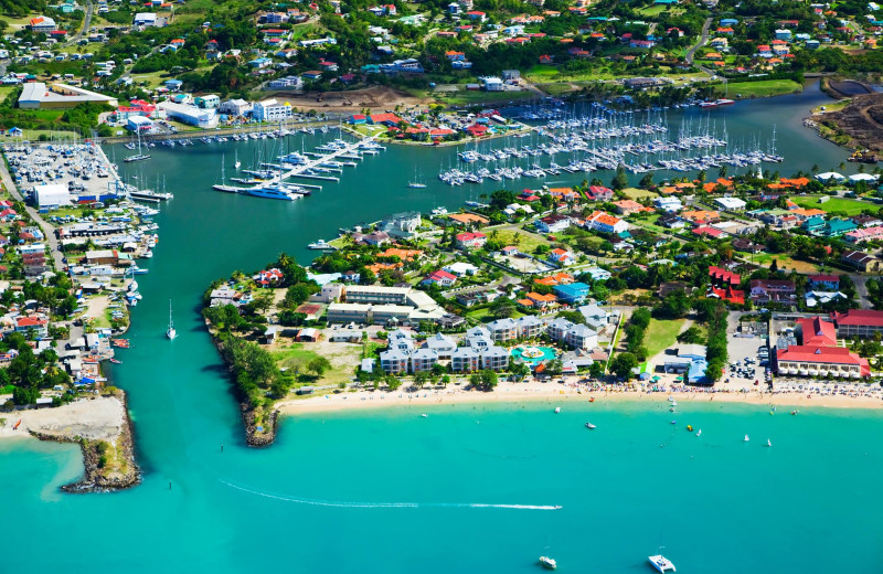 Aerial view of Rodney Bay Marina.