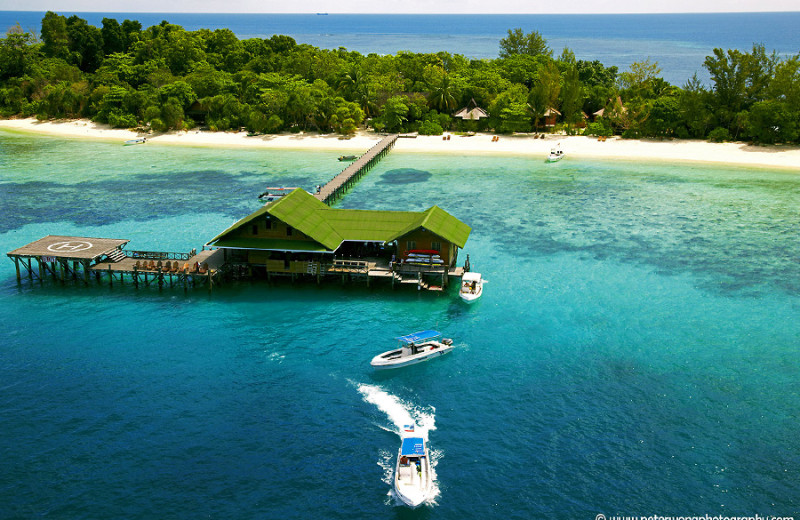 Aerial view of Lankayan Island Resort.