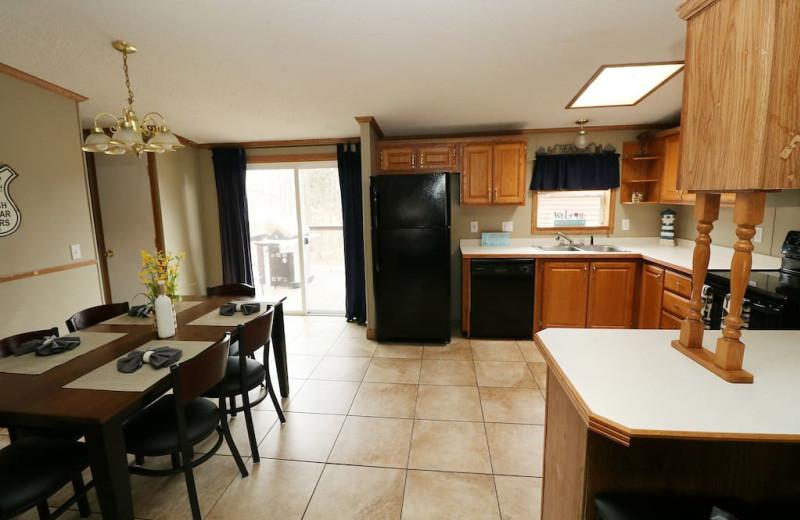 Cabin kitchen at Island Club Rentals.