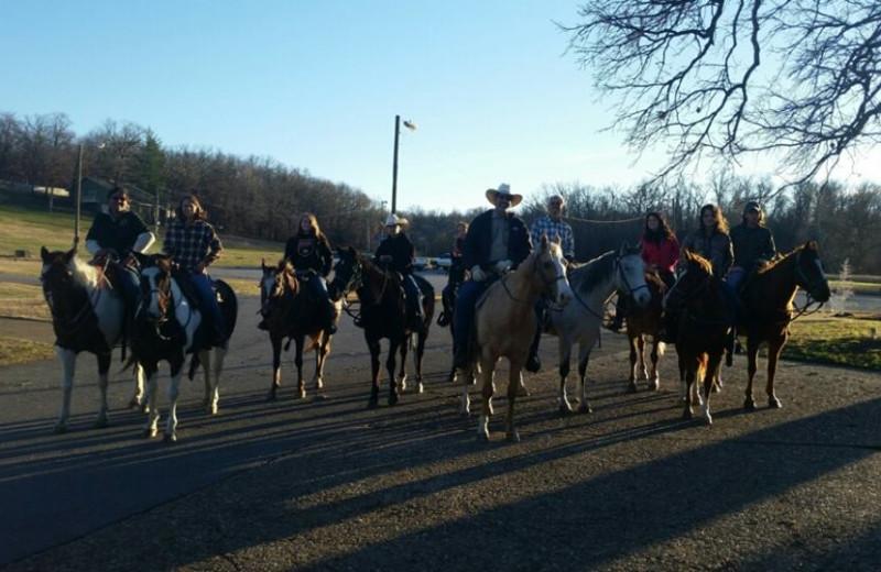 Horseback riding at Dawn Hill Community.