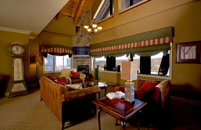 Suite living room at Grand Cascades Lodge at Crystal Springs Resort