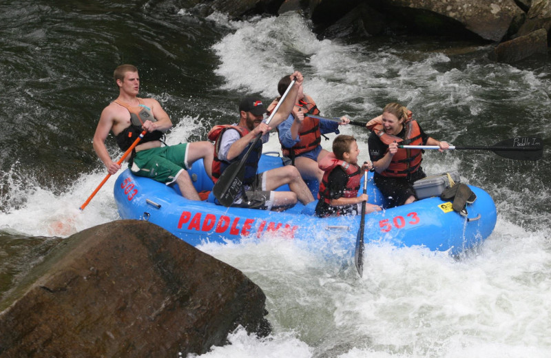 River rafting at Cabins at Highland Falls.