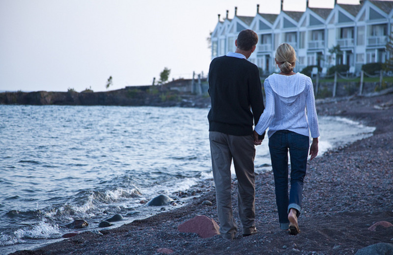 Romantic walk at Bluefin Bay on Lake Superior.
