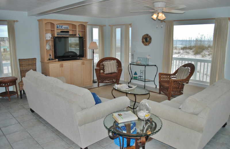 Rental living room at Gulf Shores Vacation Rentals.