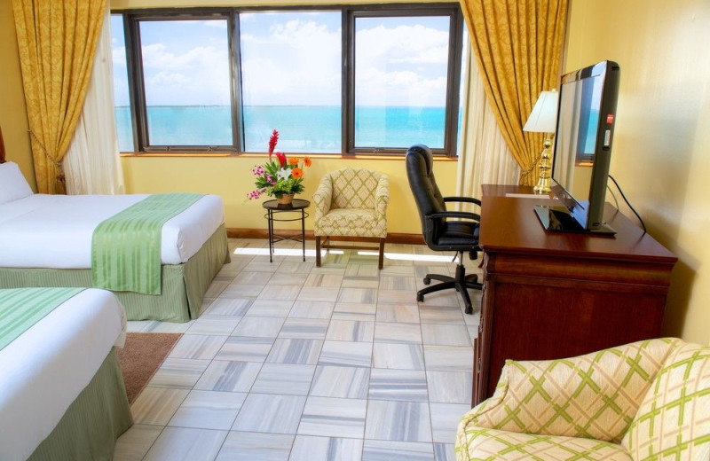 Guest room at Radisson Fort George Hotel & Marina.