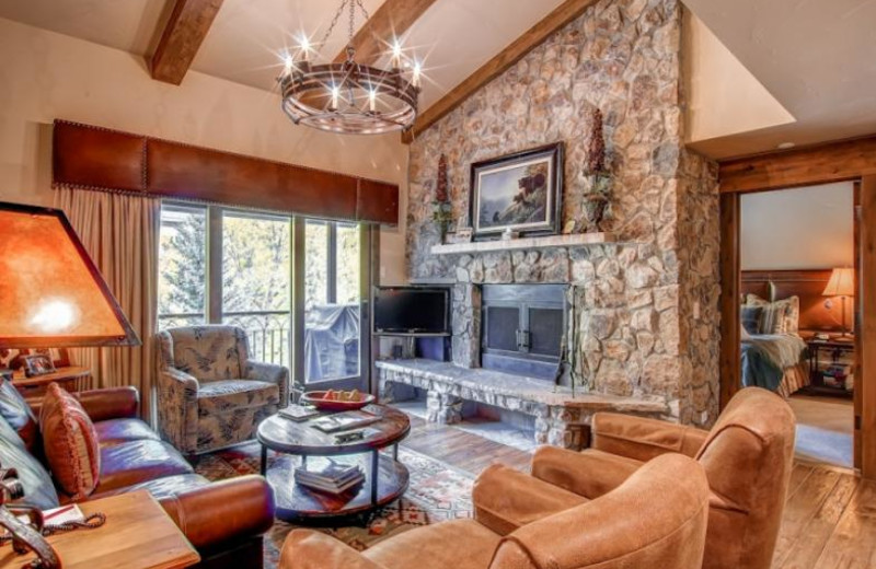 Rental living room at BlueSky Breckenridge.