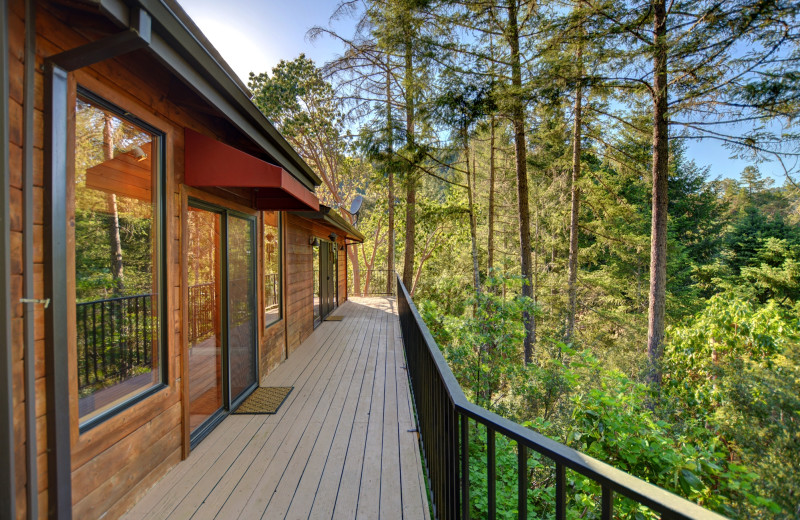 Cabin deck at Morrison's Rogue River Lodge.