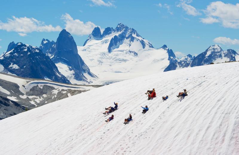 Sledding at Cariboos Lodge.