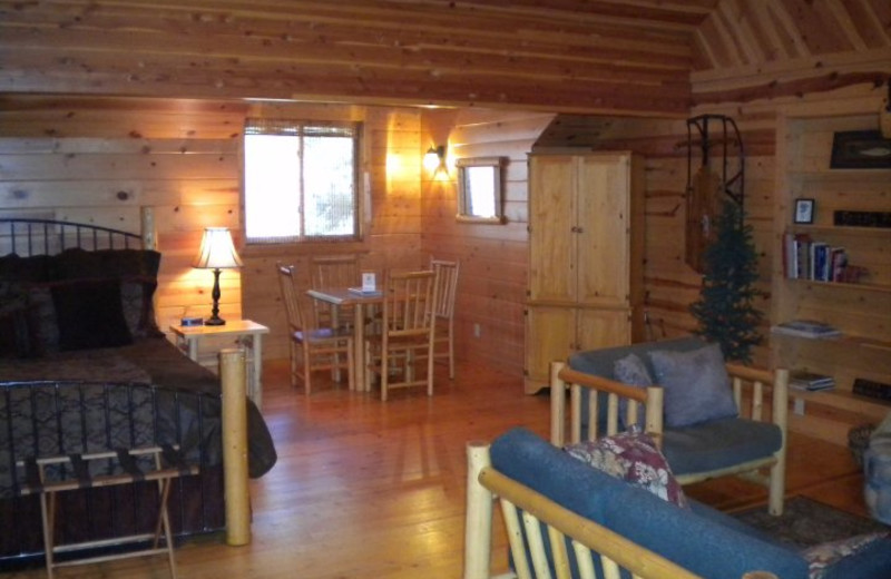 Cabin interior at Mountain Springs Lodge.