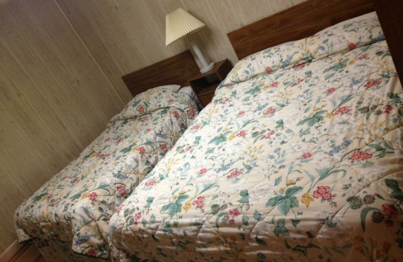 Cabin bedroom at Weslake Resort.