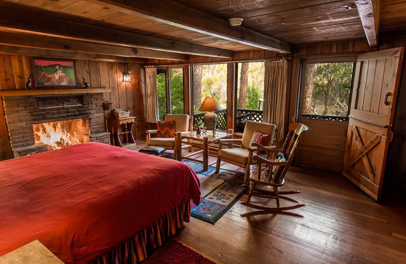 Cabin bedroom at Briar Patch Inn.