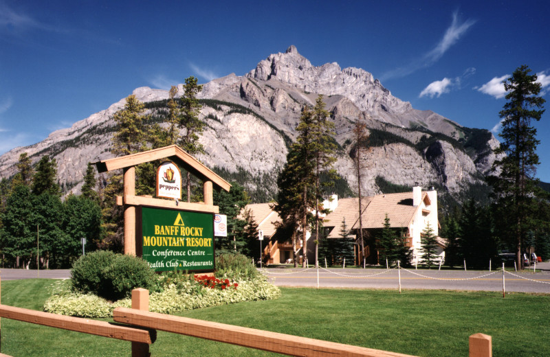 Exterior entrance at Banff Rocky Mountain Resort.