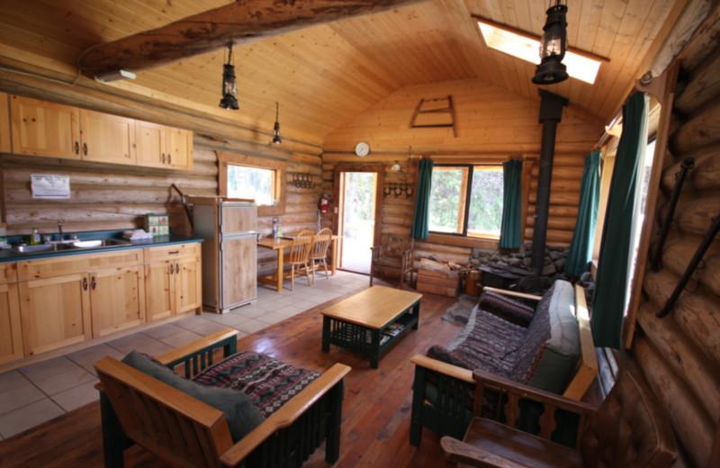Cabin living room at Chaunigan Lake Lodge.
