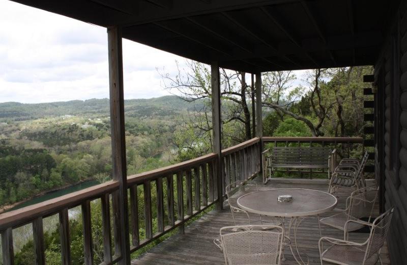 Cabin deck at Arkansas White River Cabins.