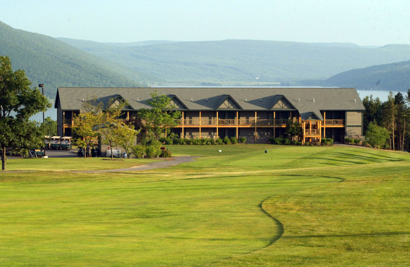 Exterior view of Bristol Harbour Resort on Canandaigua Lake.