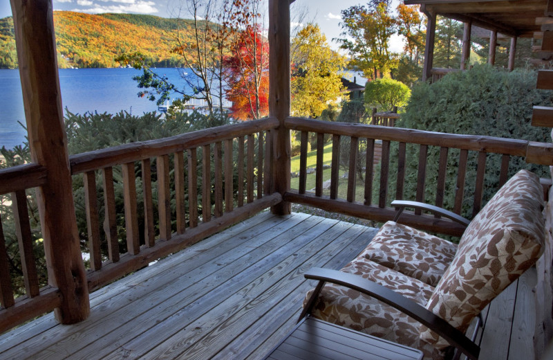 Guest balcony at The Lodges at Cresthaven on Lake George.