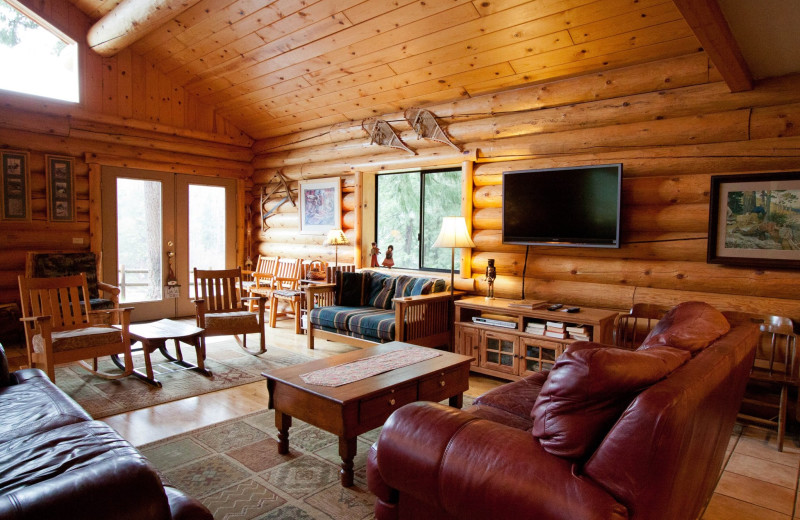 Cabin living room at Natapoc Lodging.