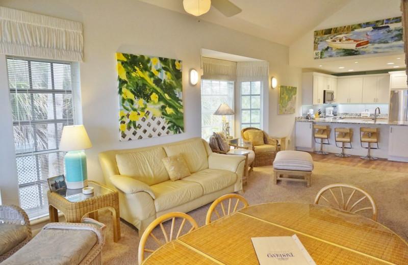 Rental living room at Palm Island Resort.