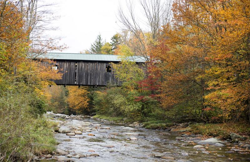 Fall covered bridge at Smugglers' Notch Resort.