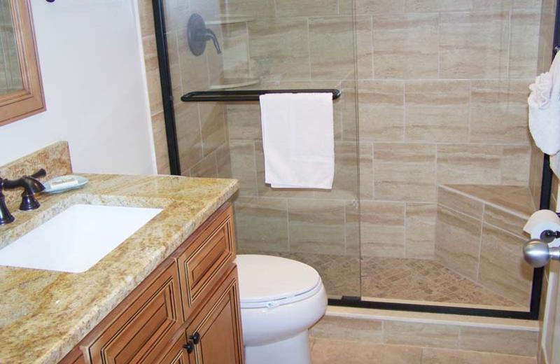 Rental bathroom at Gulf Strand Resort.
