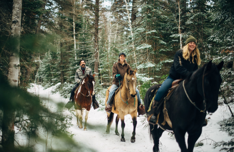 Winter horseback riding at Falcon Beach Ranch