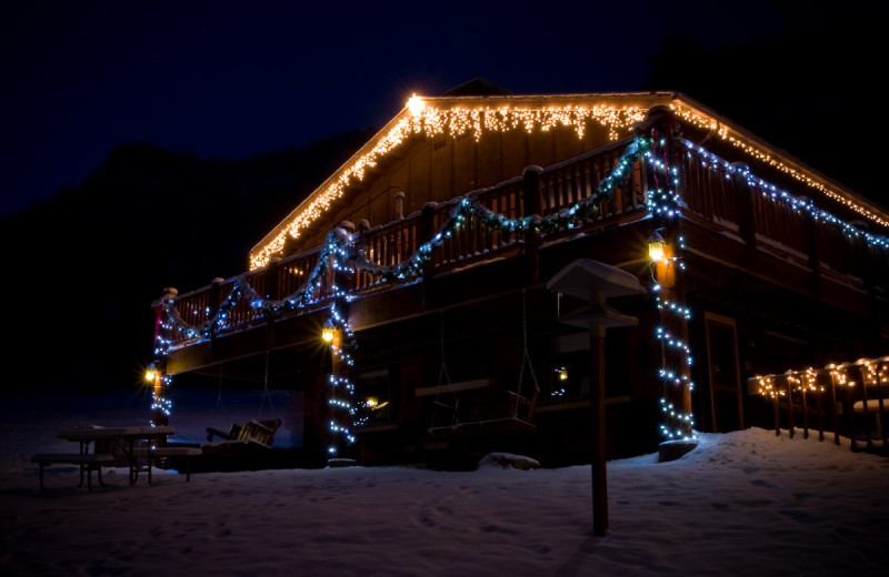 Holiday lights at McGregor Mountain Lodge.