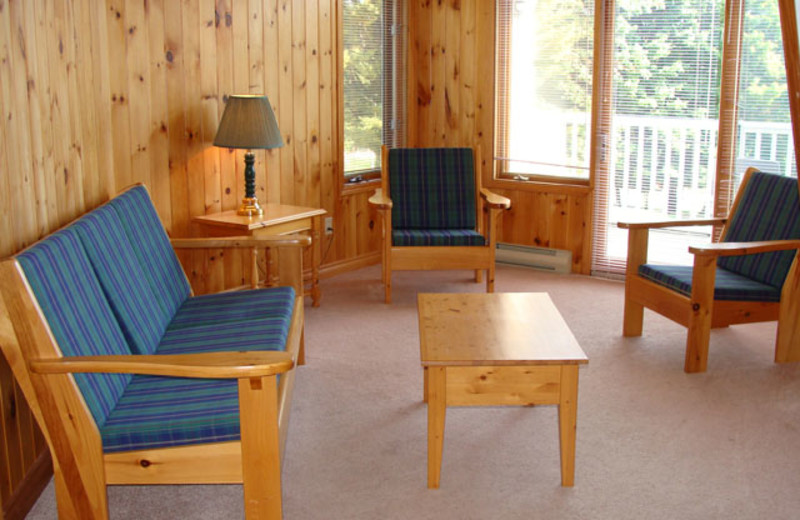 Cabin living room at Port Cunnington Lodge.
