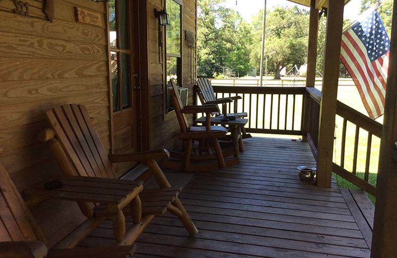 Cabin porch at Berry Creek Cabins.