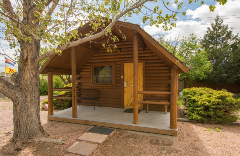 Cabin exterior at Colorado Springs KOA.
