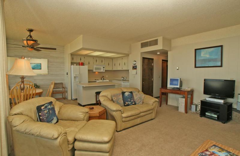 Condo living room at Sand & Sea Condominums.